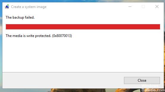 Windows update error 0x80070013