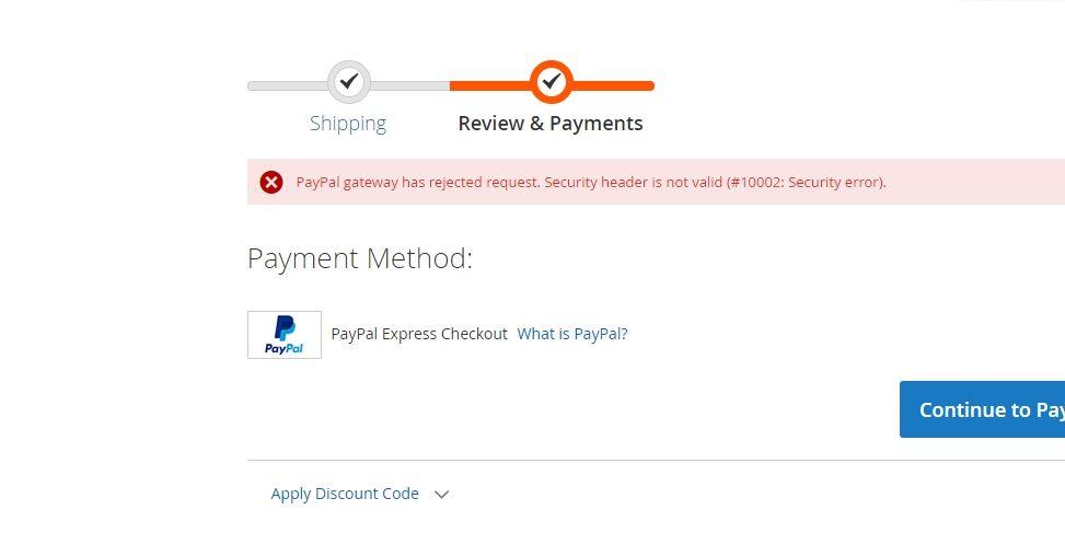 PayPal 10002 security error in Magento website.