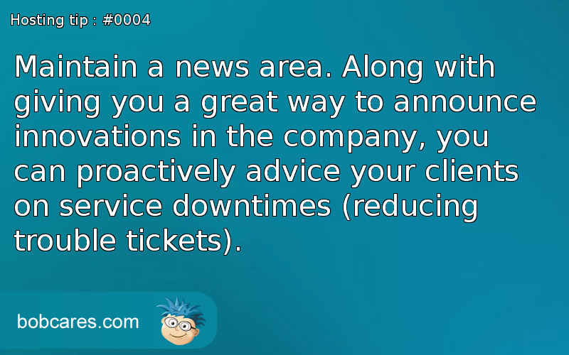 bobcares hosting tip 4 - news area