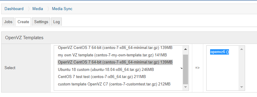 Adding OpenVZ templates to the SolusVM: SolusVM Master web interface