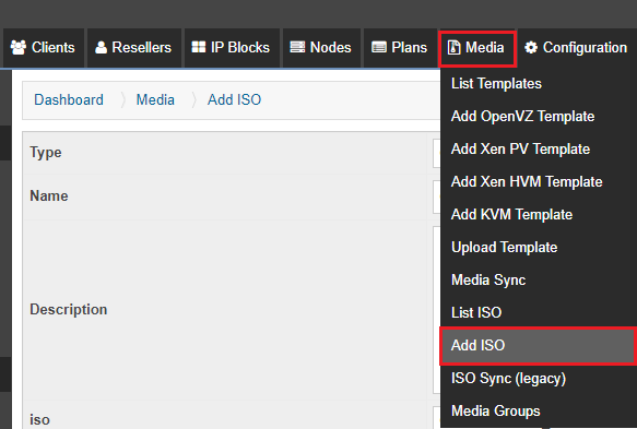 Add ISO to SolusVM
