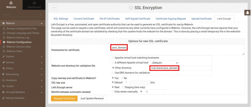 Webmin SSL Encryption