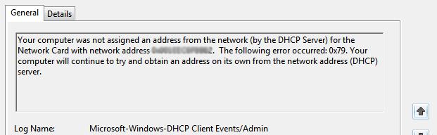 DHCP error 0x79