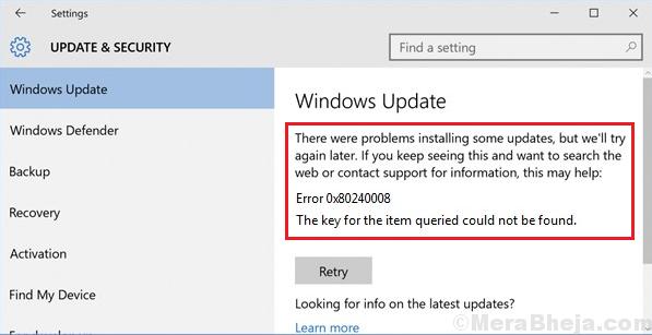 Windows update error 0x80240008