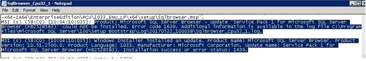 SQL error 1639