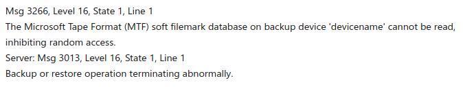 SQL error 3266