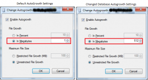 How to change SQL Server database Autogrowth settings