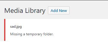 Missing a temporary folder WordPress upload