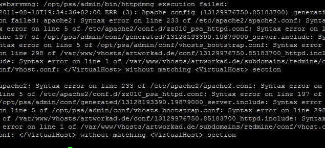 VirtualHost cannot occur within virtualhost section in WAMP