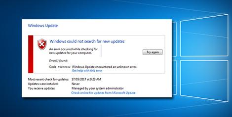 Windows update encountered an unknown error 80072ee2
