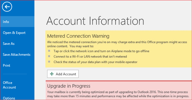 metered connection warning in outlook
