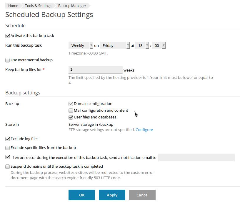 Plesk high load average - adjusting backup settings.