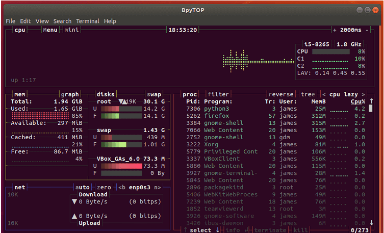 Bpytop Monitoring for Linux & FreeBSD Resources