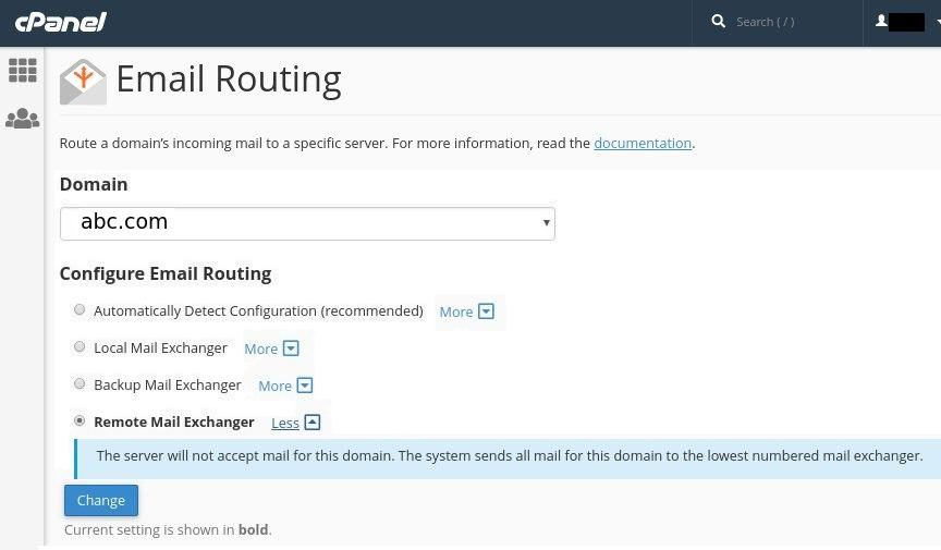 cPanel Remote Mail Exchanger - Email Routing