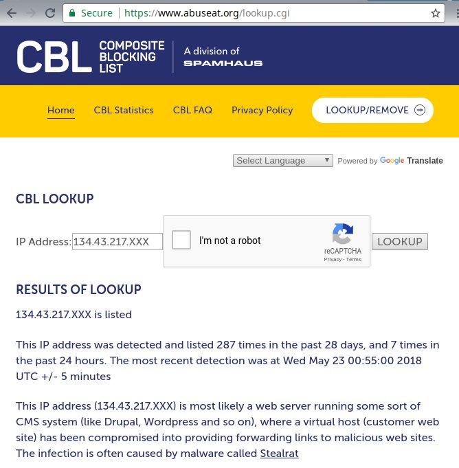 CBL blacklisting removal abuseat listing