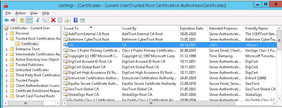 Add root CA certificate to trusted certificates