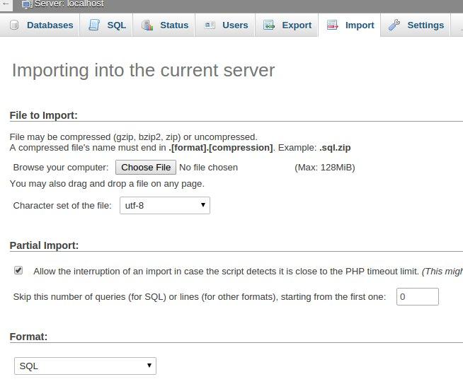 copy WordPress site - Import WordPress database to new server