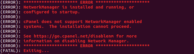 cPanel error networkmanager is installed and running