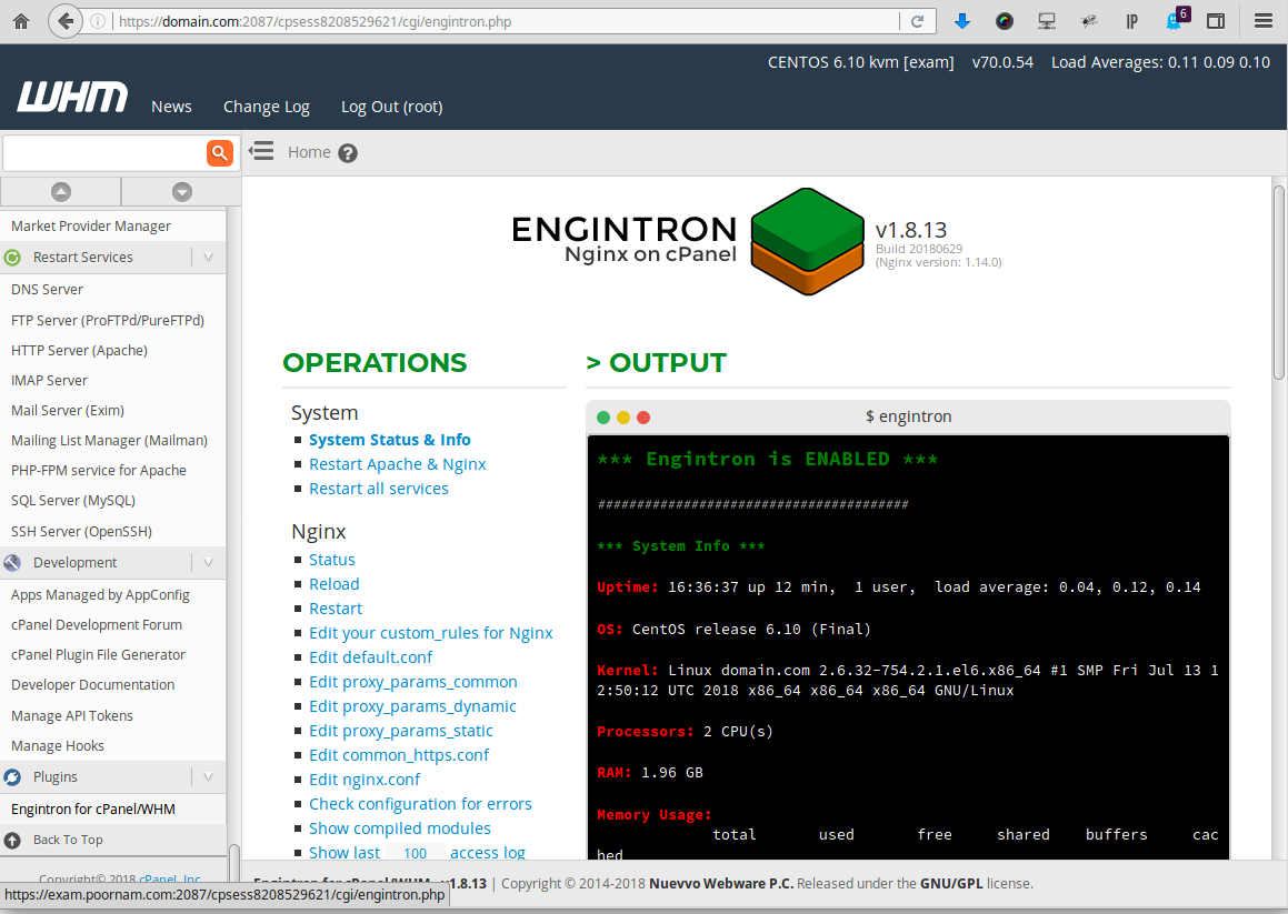 cPanel Nginx Support Engintron