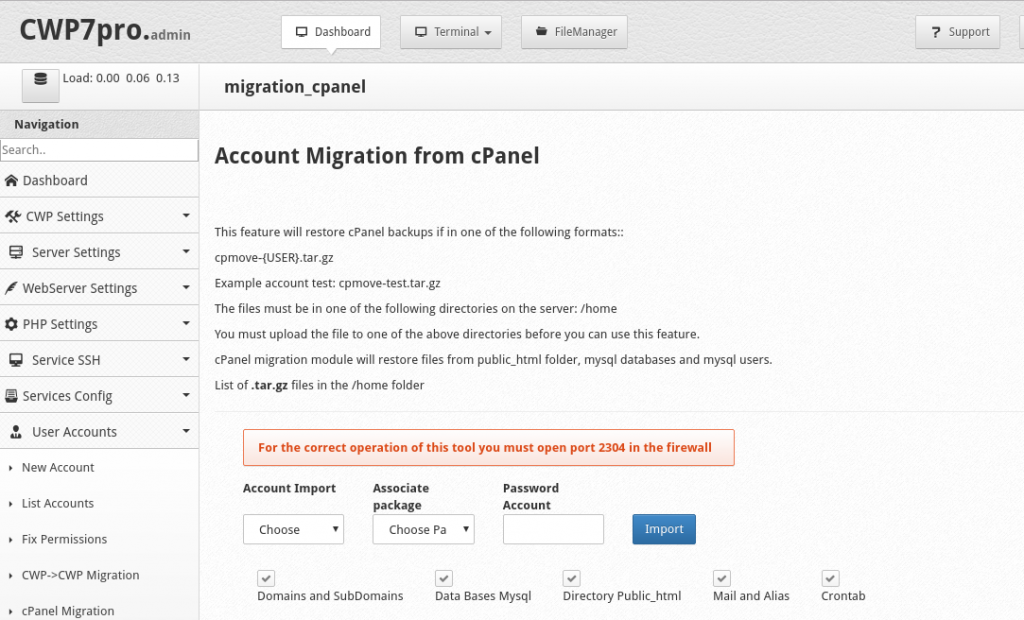 cPanel to Centos Web Panel Migration - Quick and Easy way