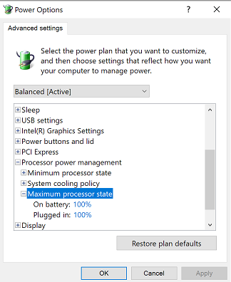 cpus are not running at its full capacity in windows