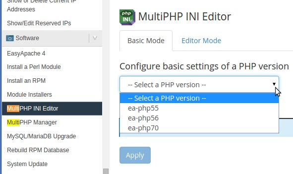 PHP ini editor in WHM