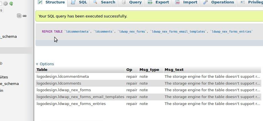 database corruption repair phpmyadmin