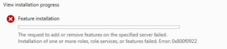 dhcp server install error 0x800f0922