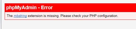 phpMyAdmin error due to improper enabling of mbstring in php.ini