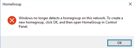 windows no longer detects a homegroup on this network