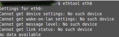 ethtool no such device error