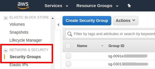 how to connect two ec2 instances - security groups menu