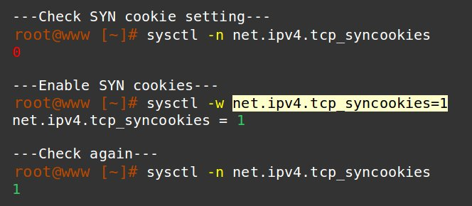 How to secure Linux server from hackers - SYN cookie