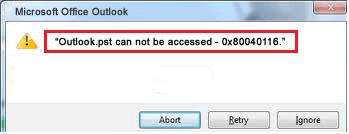 Outlook PST Error 0x80040116