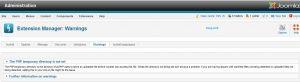 Joomla PHP temporary directory warning