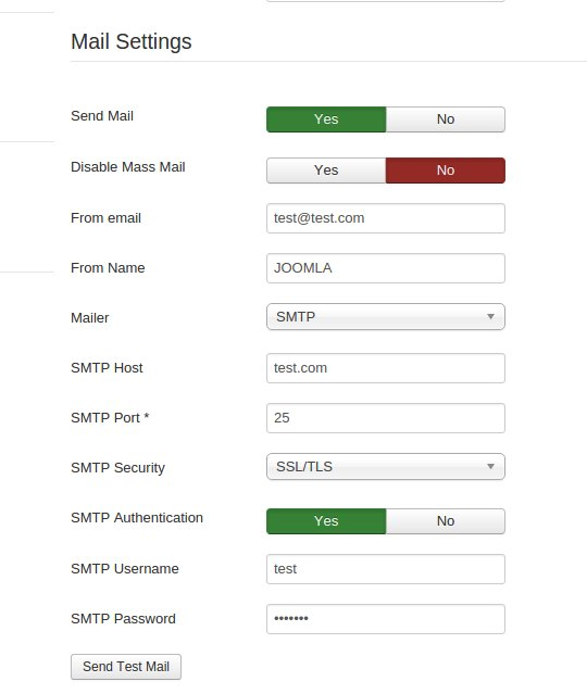 SMTP configuration settings for Joomla mail