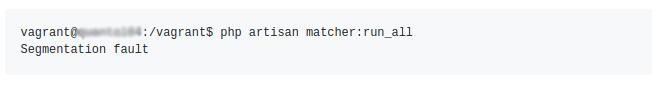 Laravel segmentation fault error in vagrant server.