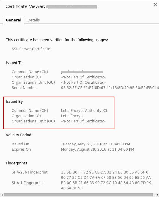 Let's Encrypt free certificate