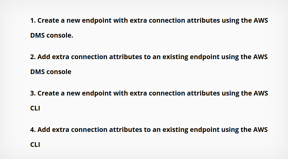 add or modify extra connection attributes for an AWS DMS endpoint