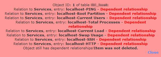 nagios unable to delete host