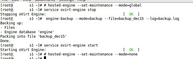 How to backup and restore oVirt engine