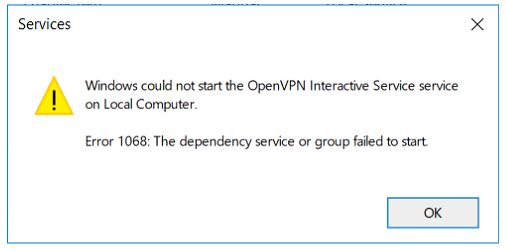 openvpn error 1068