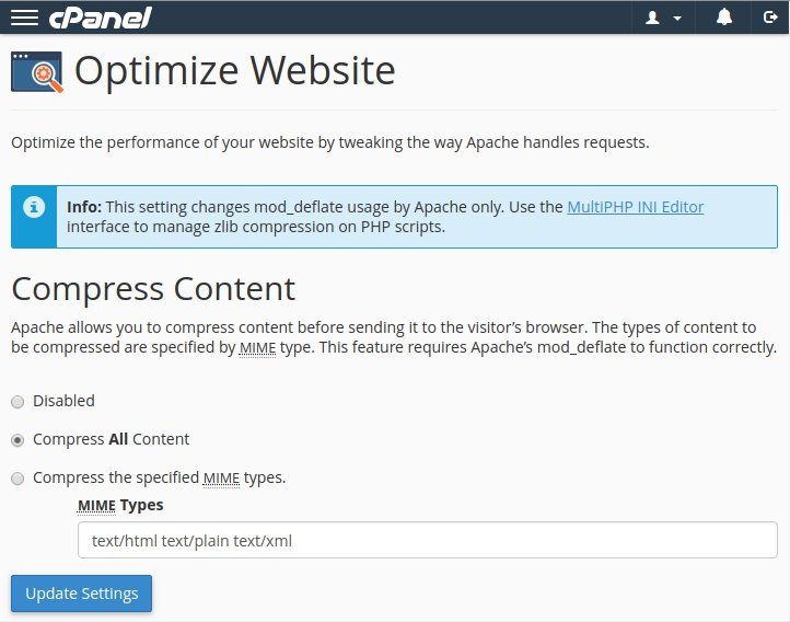 """What's """"Optimize Website"""" in cPanel? Is it sufficient? - Internet"""