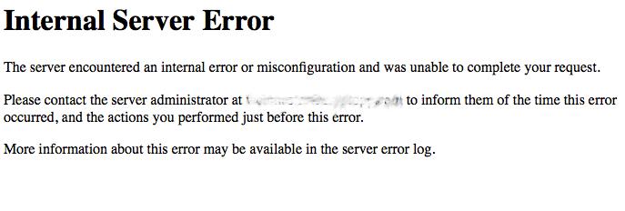 Internal server error in osCommerce website