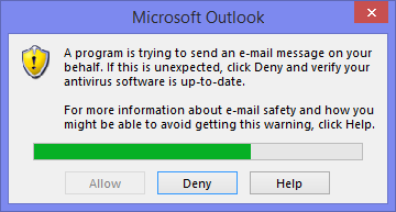 A program is trying to send an email message on your behalf