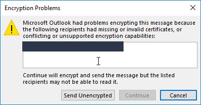 'Outlook conflicting or unsupported encryption capabilities'