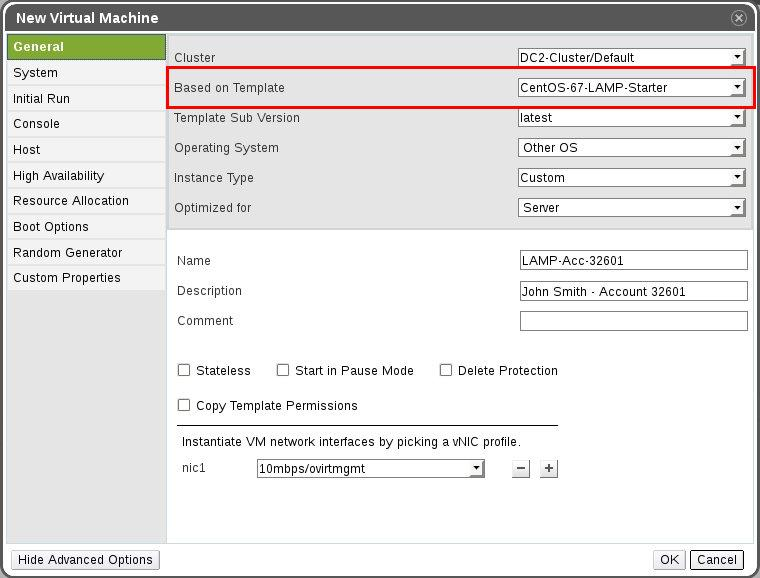 Quick provisioning in oVirt cloud using templates