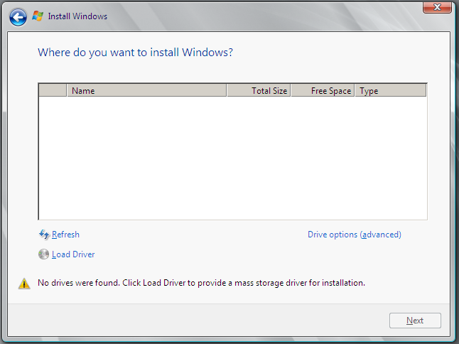 Where do you want to install Windows - oVirt Windows installation
