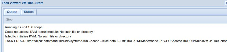 Fix error Could not access KVM kernel module in Proxmox