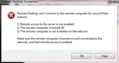 remote desktop can't connect to the remote computer